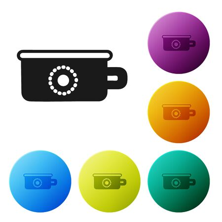 Black Baby potty icon isolated on white background. Chamber pot. Set icons colorful circle buttons. Vector Illustration