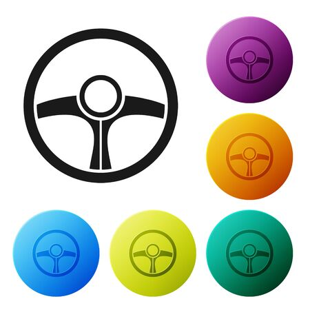 Black Steering wheel icon isolated on white background. Car wheel icon. Set icons colorful circle buttons. Vector Illustration Illustration