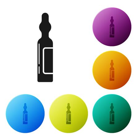 Black Pets vial medical icon isolated on white background. Prescription medicine for animal. Set icons colorful circle buttons. Vector Illustration Illustration