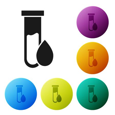 Black Oil petrol test tube icon isolated on white background. Set icons colorful circle buttons. Vector Illustration Illustration