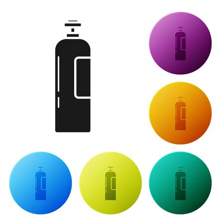 Black Industrial gas cylinder tank for all inert and mixed inert gases icon isolated on white background. Set icons colorful circle buttons. Vector Illustration Illusztráció