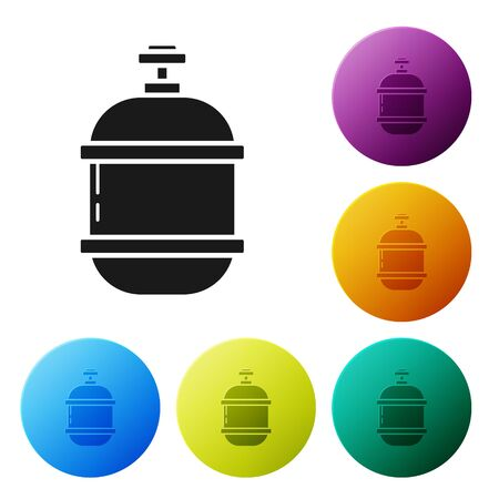 Black Propane gas tank icon isolated on white background. Flammable gas tank icon. Set icons colorful circle buttons. Vector Illustration