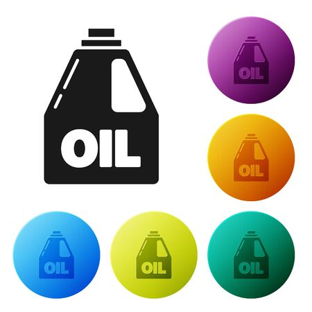 Black Plastic canister for motor machine oil icon isolated on white background. Oil gallon. Oil change service and repair. Set icons colorful circle buttons. Vector Illustration Ilustrace