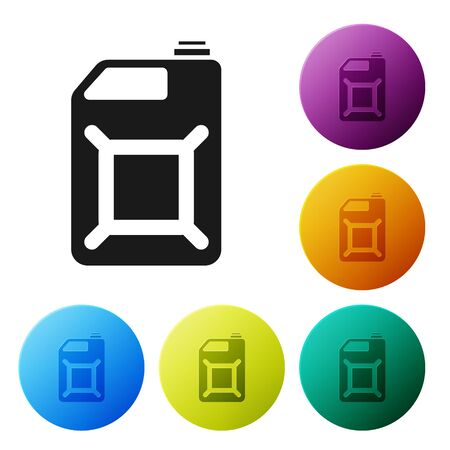 Black Canister for gasoline icon isolated on white background. Diesel gas icon. Set icons colorful circle buttons. Vector Illustration