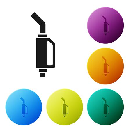 Black Gasoline pump nozzle icon isolated on white background. Fuel pump petrol station. Refuel service sign. Gas station icon. Set icons colorful circle buttons. Vector Illustration