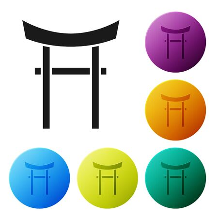 Black Japan Gate icon isolated on white background. Torii gate sign. Japanese traditional classic gate symbol. Set icons colorful circle buttons. Vector Illustration