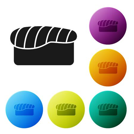 Black Sushi icon isolated on white background. Traditional Japanese food. Set icons colorful circle buttons. Vector Illustration