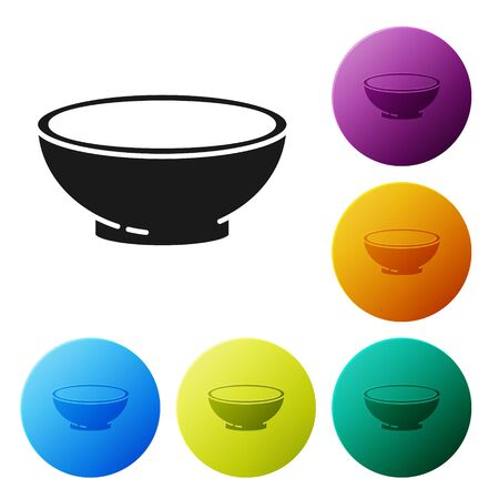 Black Bowl of hot soup icon isolated on white background. Set icons colorful circle buttons. Vector Illustration Stock Illustratie