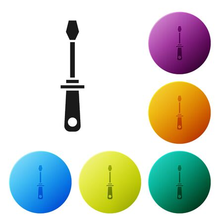 Black Screwdriver icon isolated on white background. Service tool symbol. Set icons colorful circle buttons. Vector Illustration Illustration