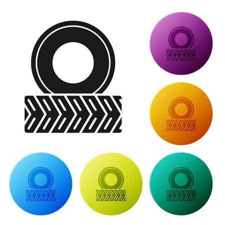 Black Car wheel icon isolated on white background. Set icons colorful circle buttons. Vector Illustration