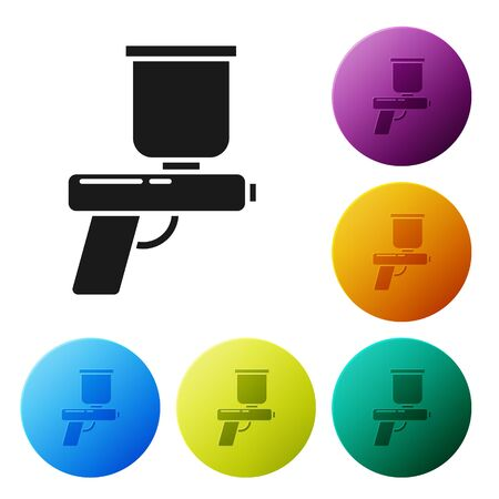 Black Paint spray gun icon isolated on white background. Set icons colorful circle buttons. Vector Illustration