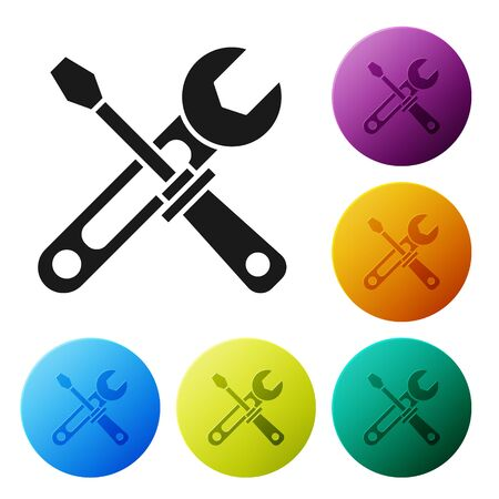 Black Screwdriver and wrench tools icon isolated on white background. Service tool symbol. Set icons colorful circle buttons. Vector Illustration
