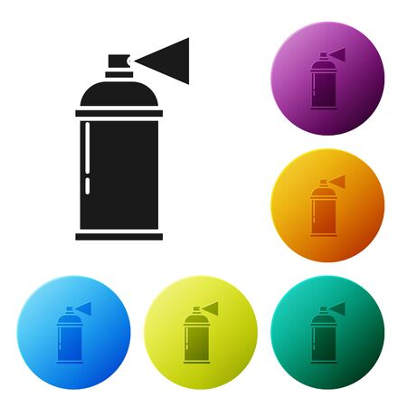 Black Paint spray can icon isolated on white background. Set icons colorful circle buttons. Vector Illustration