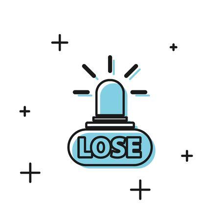 Black Casino losing icon isolated on white background.  Vector Illustration