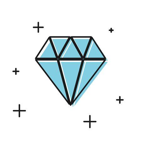 Black Diamond icon isolated on white background. Jewelry symbol. Gem stone.  Vector Illustration