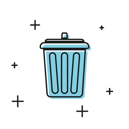 Black Trash can icon isolated on white background. Garbage bin sign. Recycle basket icon. Office trash icon.  Vector Illustration Ilustrace