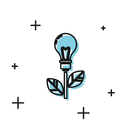 Black Light bulb with leaf icon isolated on white background. Eco energy concept. Alternative energy concept.  Vector Illustration