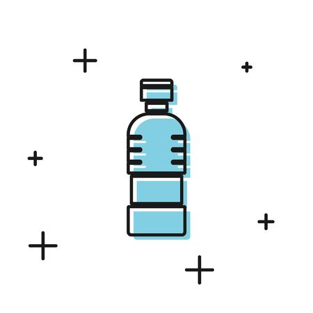 Black Bottle of water icon isolated on white background. Soda aqua drink sign.  Vector Illustration