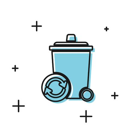 Black Recycle bin with recycle symbol icon isolated on white background. Trash can icon. Garbage bin sign. Recycle basket sign.  Vector Illustration
