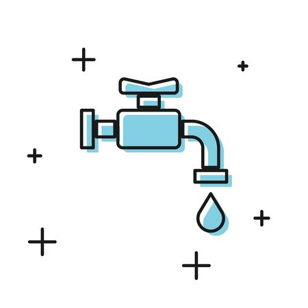 Black Water tap icon isolated on white background.  Vector Illustration Ilustrace