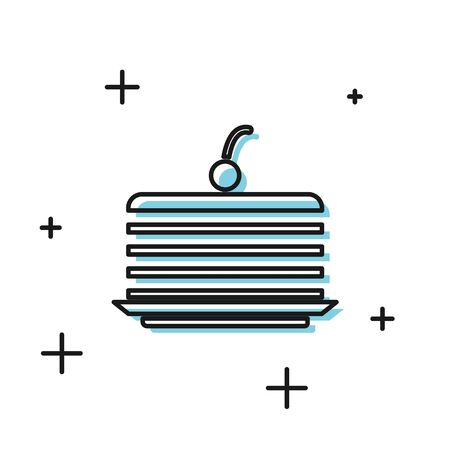 Black Cake icon isolated on white background. Happy Birthday.  Vector Illustration