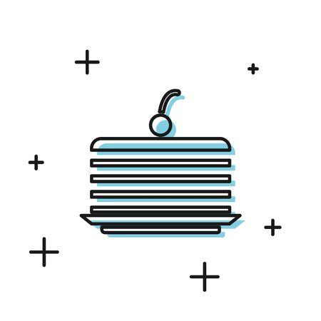 Black Cake icon isolated on white background. Happy Birthday.  Vector Illustration