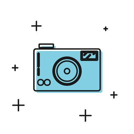 Black Photo camera icon isolated on white background. Foto camera icon.  Vector Illustration Illusztráció