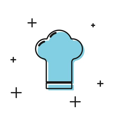 Black Chef hat icon isolated on white background. Cooking symbol. Cooks hat.  Vector Illustration Illustration