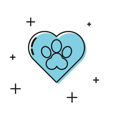 Black Heart with animals footprint icon isolated on white background. Pet paw in heart. Love to the animals.  Vector Illustration