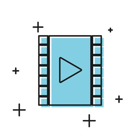Black Play Video icon isolated on white background. Film strip with play sign.  Vector Illustration Illusztráció