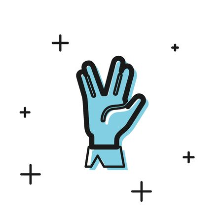 Black Vulcan salute icon isolated on white background. Hand with vulcan greet. Spock symbol. Vector Illustration