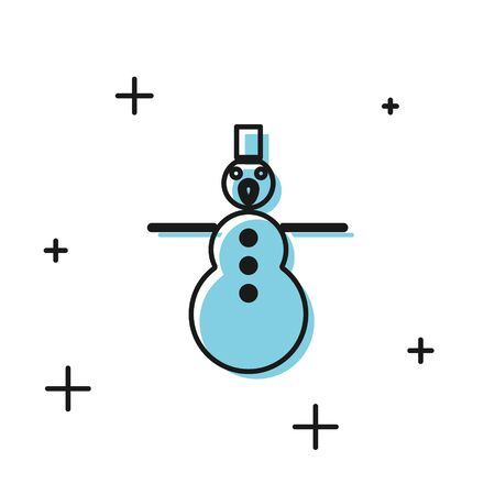 Black Christmas snowman icon isolated on white background. Merry Christmas and Happy New Year. Vector Illustration Ilustrace