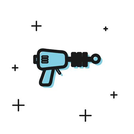 Black Ray gun icon isolated on white background. Laser weapon. Space blaster.  Vector Illustration Ilustrace