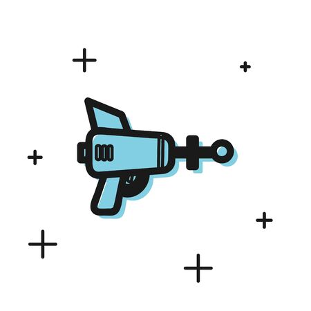 Black Ray gun icon isolated on white background. Laser weapon. Space blaster. Vector Illustration Reklamní fotografie - 134810981