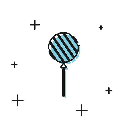 Black Lollipop icon isolated on white background. Food, delicious symbol. Vector Illustration 向量圖像