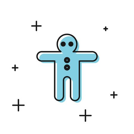 Black Holiday gingerbread man cookie icon isolated on white background. Cookie in shape of man with icing. Vector Illustration 向量圖像