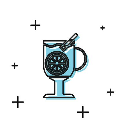 Black Mulled wine with glass of drink and ingredients icon isolated on white background. Cinnamon stick, clove, lemon slice. Vector Illustration Illustration