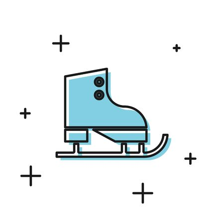 Black Figure skates icon isolated on white background. Ice skate shoes icon. Sport boots with blades. Vector Illustration Illustration