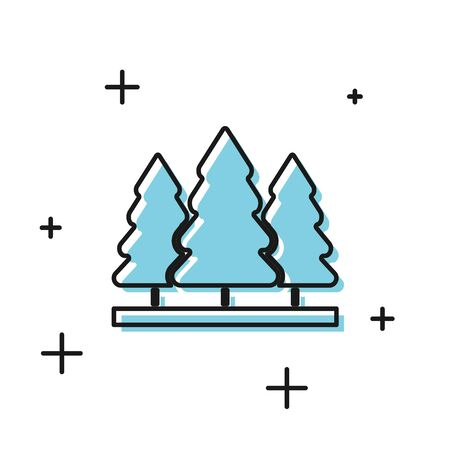Black Christmas trees icon isolated on white background. Merry Christmas and Happy New Year. Vector Illustration Ilustrace