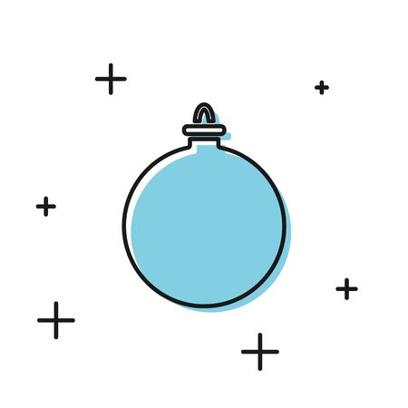Black Christmas ball icon isolated on white background. Merry Christmas and Happy New Year. Vector Illustration