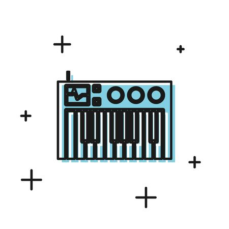 Black Music synthesizer icon isolated on white background. Electronic piano. Vector Illustration Foto de archivo - 134810152
