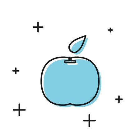 Black Apple icon isolated on white background. Fruit with leaf symbol. Vector Illustration Illustration
