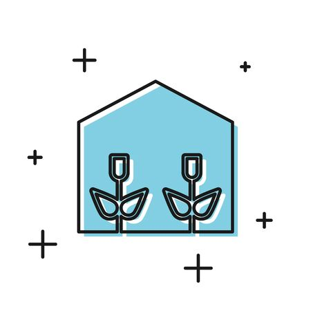 Black Home greenhouse and plants icon isolated on white background. Vector Illustration