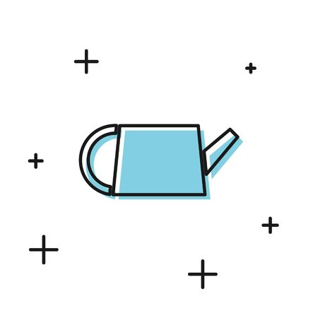 Black Watering can icon isolated on white background. Irrigation symbol. Vector Illustration