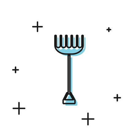 Black Garden rake icon isolated on white background. Tool for horticulture, agriculture, farming. Ground cultivator. Housekeeping equipment. Vector Illustration