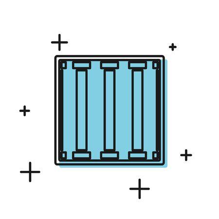 Black Prison window icon isolated on white background. Vector Illustration