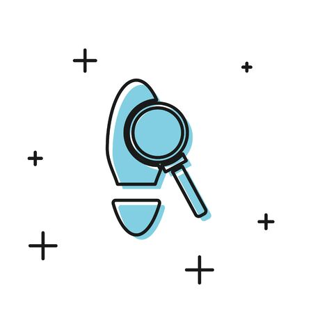 Black Magnifying glass with footsteps icon isolated on white background. Detective is investigating. To follow in the footsteps. Vector Illustration