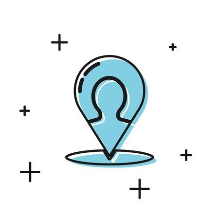 Black Map marker with a silhouette of a person icon isolated on white background. GPS location symbol. Vector Illustration