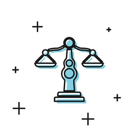 Black Scales of justice icon isolated on white background. Court of law symbol. Balance scale sign. Vector Illustration