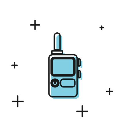 Black Walkie talkie icon isolated on white background. Portable radio transmitter icon. Radio transceiver sign. Vector Illustration